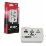 هاب USB + رم ریدر کلیددار Venous Combo مدل PV-HR195