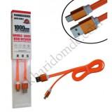 کابل Micro USB فلت شبرنگ دار مدل AF5 نارنجی