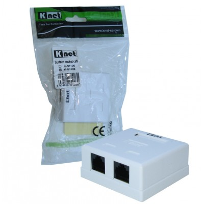 پریز روکار 2 پورت شبکه Knet مدل K-N1108 Cat6