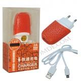 شارژر USB با کابل رنگی پارادیس (نارنجی)