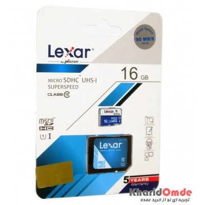رم موبایل Lexar 16GB MicroSDHC Class10 90 Mb/S خشاب دار