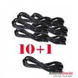 بسته 1+10 کابل برق 2 پین Detex