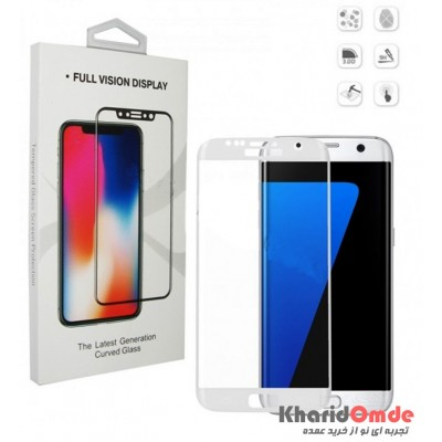 محافظ گلس صفحه نمایش 3D مناسب برای گوشی S7 Edge سفید