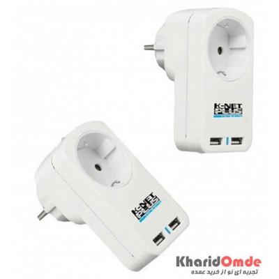 رابط برق دیواری 1 خانه Knet Plus مدل Kp-PS03-USB