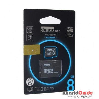 رم موبایل KLEVV مدل 8GB MicroSDHC U1 45MB/S خشاب دار