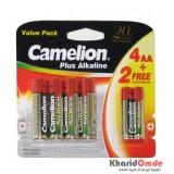 پک 4 باتری قلمی + 2 باتری نیم قلمی Plus Alkaline Camelion