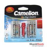 پک 4 باتری قلمی + 4 باتری نیم قلمی Digi Alkaline Camelion