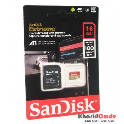 رم موبایل SanDisk مدل 16GB U3 100MB/S 677X EXTREME خشاب دار