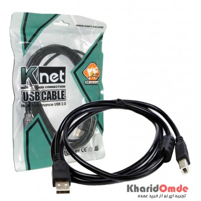کابل پرینتر USB شیلددار طول 3 متر مدل KNET UC501