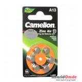 باتری سمعک Camelion مدل A13 (کارتی 6تایی)