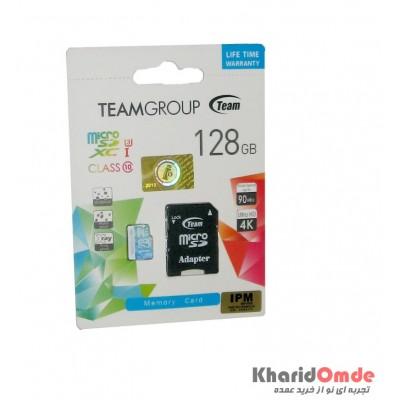 رم موبایل Team Group مدل 128G MicroSDXC U3 Clas10 90MB/S خشاب دار