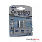 باتری نیم قلمی شارژی Camelion مدل AlwaysReady 2100mAh (کارتی 2 تایی)