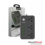 رابط برق 3 خانه سوکت سه پایه + 6 پورت USB