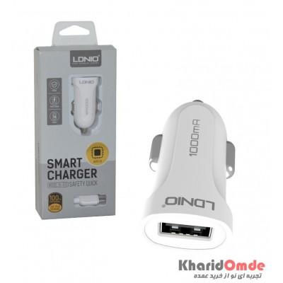 شارژر فندکی LDNIO تک پورت USB + کابل اندروید مدل DL-C17