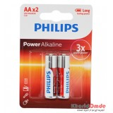 باتری قلمی Philips Power Alkaline کارتی (2 تایی)