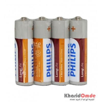 باتری قلمی Philips Long Life شیرینگ 4 تایی