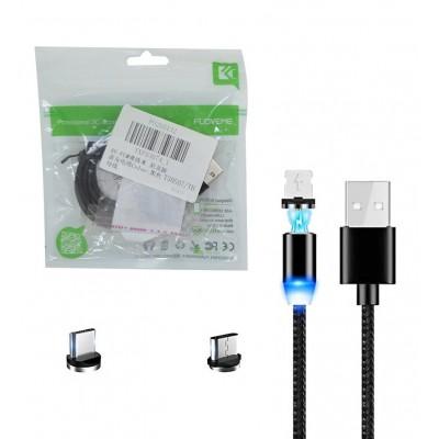کابل شارژ کنفی مگنتی LED دار 3 کاره آیفون اندروید Type-C طول 1 متر FLOVEME