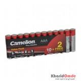 باتری نیم قلمی Camelion مدل Plus Alkaline LR03 AAA (شرینگ 12 تایی)