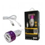 شارژر فندکی USB دو پورت REMAX مدل RX-06 + کابل micro usb