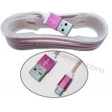 کابل Micro USB کنفی بدون پک فیش فلزی کد 531 صورتی