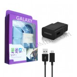شارژر USB سامسونگ + کابل Micro USB مدل GALAXY مشکی (پک بنفش)